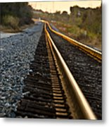 Railroad Tracks At Sundown Metal Print