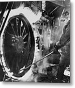 Railroad Worker Sweating A Tire Metal Print by Everett