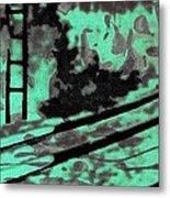 Railway - Schattenbild Siebdrucktechnik Metal Print