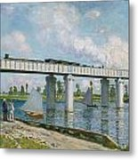 Railway Bridge At Argenteuil Metal Print