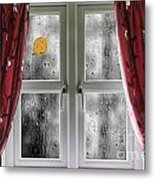 Rain On A Window With Curtains Metal Print