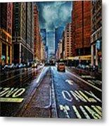 Rain On Park Avenue Metal Print