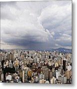 Rain Shower Approaching Downtown Sao Paulo Metal Print
