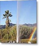 Rainbow At Old Faithful Metal Print