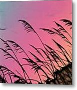 Rainbow Batik Sea Grass Gradient Silhouette Metal Print