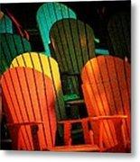 Rainbow Chairs Metal Print