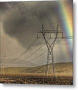 Rainbow Forms Over Powerlines Metal Print