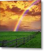 Rainbow In Country Field With Gold Metal Print