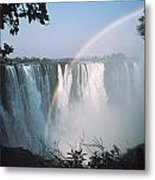 Rainbow In Front Of Victoria Falls Metal Print