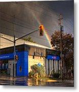 Rainbow On Bank Metal Print