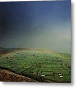Rainbow Over Fields In Slieve Gullion Metal Print