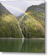 Rainbow Over Forest, Endicott Arm Metal Print