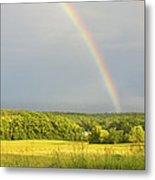 Rainbow Over Hay Field In Maine Metal Print