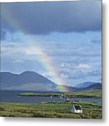 Rainbow Over Mountains, Ballinskelligs Metal Print
