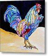 Rainbow Rooster Metal Print