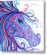 Rainbow Spotted Horse Metal Print
