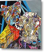 Rainbow Yorkies Metal Print
