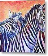 Rainbow Zebras Metal Print by Diana Shively