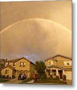 Rainbows Over Suburbia 1 Metal Print