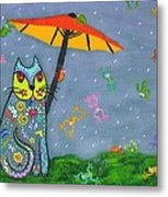 Raining Frogs On Kittyboy Metal Print