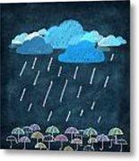 Rainy Day With Umbrella Metal Print by Setsiri Silapasuwanchai