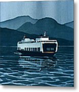 Rainy Ferry Metal Print