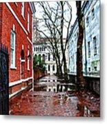Rainy Philadelphia Alley Metal Print by Bill Cannon