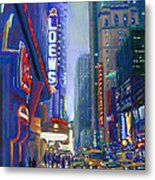 Rainy Reflections In Times Square Metal Print