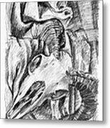 Ram Skull Still-life Metal Print