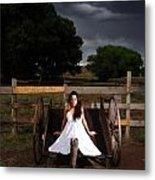 Ranch Woman On Wagon Metal Print