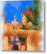 Ranchos Church Gate - Aquarell Metal Print