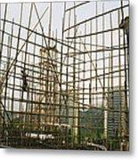 Rare Bamboo Scaffolding Used In Hong Metal Print