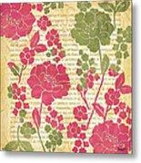 Raspberry Sorbet Floral 2 Metal Print