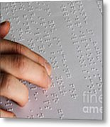 Reading Braille Metal Print by Photo Researchers, Inc.