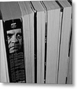 Reading With Dick In Black And White Metal Print