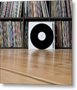 Records Leaning Against Shelves Metal Print by Halfdark