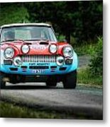 Red And Blue Fiat Abarth Metal Print