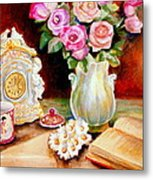 Red And Pink Roses And Daisies - The Doves Of Peace-angels And The Bible Metal Print