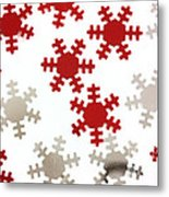 Red And Silver Snowflakes Metal Print