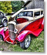 Red And White Chop Top Metal Print