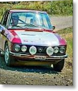 Red And White Lancia Metal Print