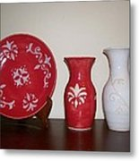 Red And White Metal Print by Monika Hood