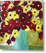 Red And Yellow Bouquet In Blue Metal Print