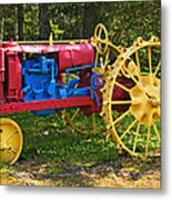 Red And Yellow Tractor Metal Print