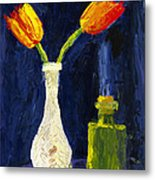 Red And Yellow Tulips In Vase Abstract Palette Knife Painting Metal Print