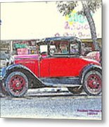 Red Antique Rumble Seater Metal Print