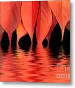Red Autumn Leaves In Water Metal Print