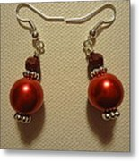 Red Ball Drop Earrings Metal Print