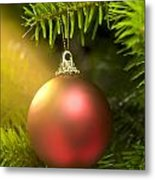 Red Ball In A Real Caucasian Fir Christmas Tree Metal Print