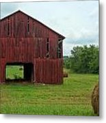 Red Barn And Hay Bales 3 Metal Print